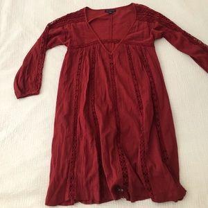American Eagle 🦅 burgundy boho dress XS